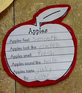 Together brainstorm what apples feel, look. smell, sound, and taste like. No printable, just photo and other good ideas for apple theme.