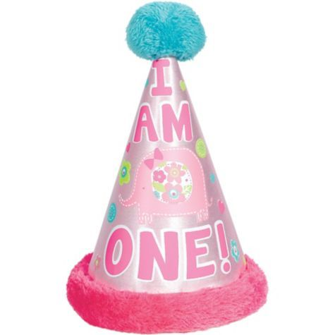 Wild At One Girls 1st Birthday Deluxe Party Hat