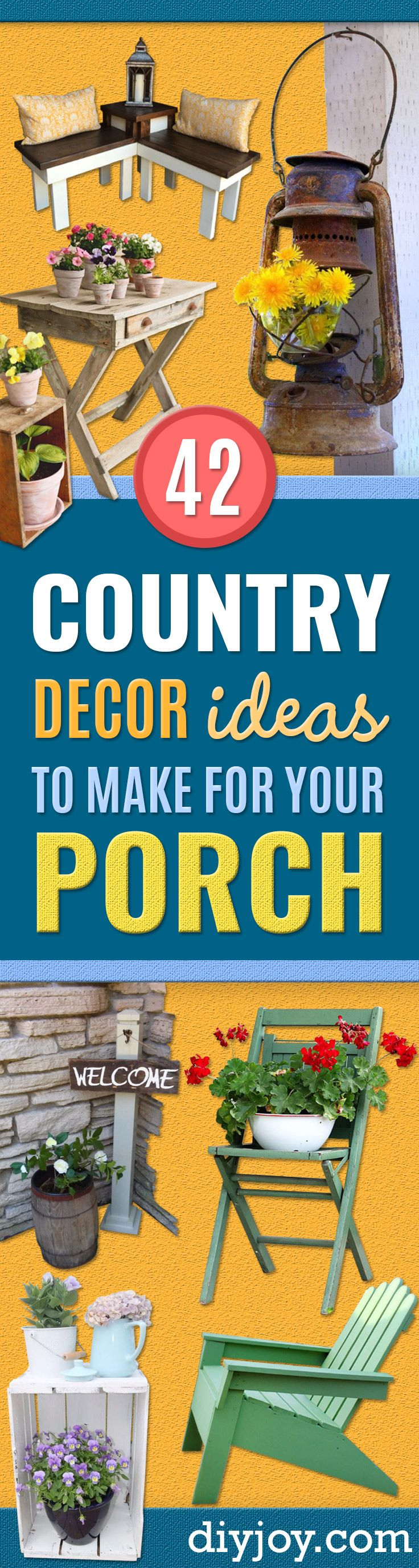 Best Country Decor Ideas for Your Porch - Rustic Farmhouse Decor Tutorials and Easy Vintage Shabby Chic Home Decor for Kitchen, Living Room and Bathroom - Creative Country Crafts, Furniture, Patio Decor and Rustic Wall Art and Accessories to Make and Sell http://diyjoy.com/country-decor-ideas-porchs