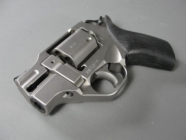 """CHIAPPA WHITE RHINO with 2"""" barrel, nickel finish - lowest recoil .357 snubnosed revolver due to barrel at 6 o'clock position."""