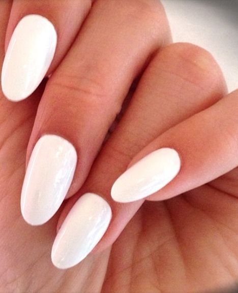 white almond nails just so classy looking