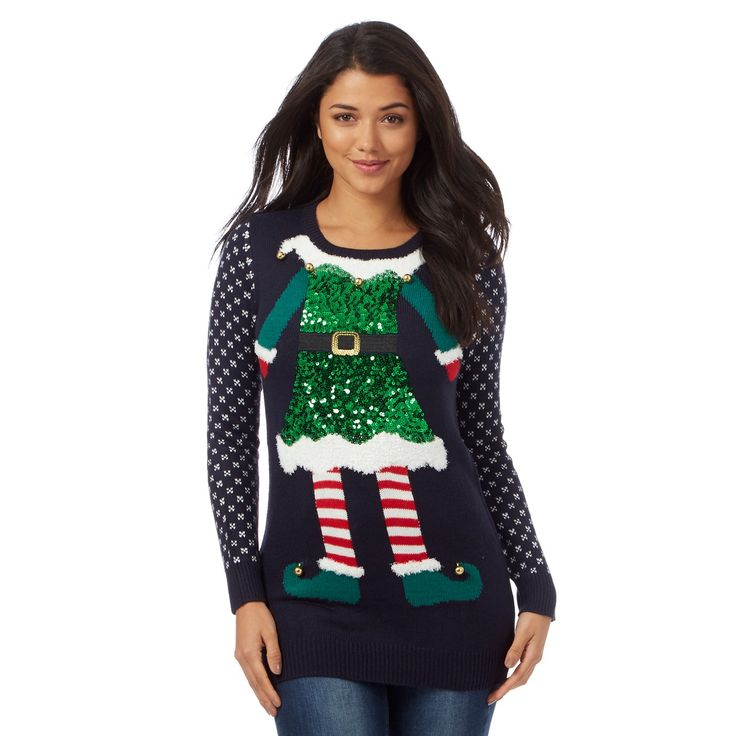 From Red Herring, this jumper will update a casual wardrobe with festive fun. In navy, this super-soft piece features a colourful 'Mrs Elf' motif with a pretty sequinned finish and jingle bell embellishments.