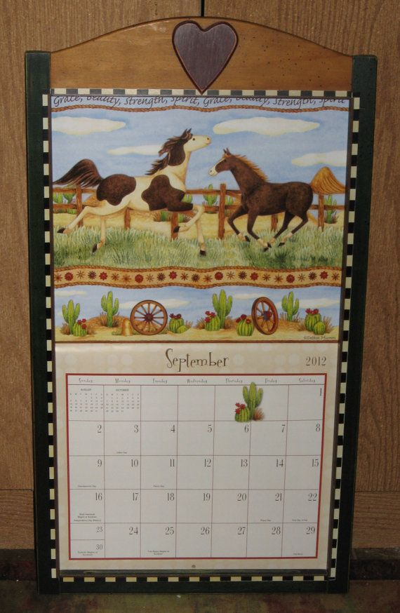 Vintage Country Debbie Mumm Calendar Holder Wood Frame