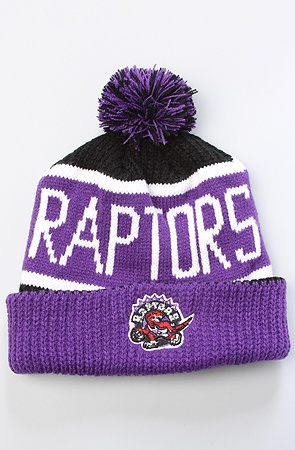 47 Brand Hats The Toronto Raptors Calgary Pom Beanie in Purple Black