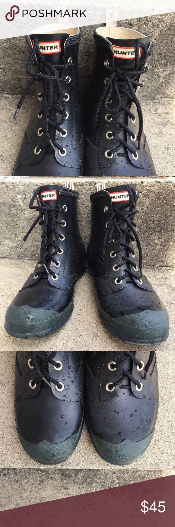 Hunter Combat Rainboots Barely worn!!  Short, black, tie-up, Hunter wellies! Hunter Boots Shoes Winter & Rain Boots