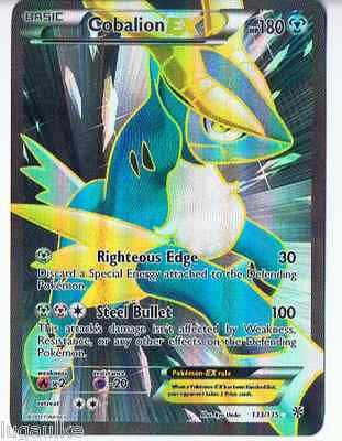 Pokemon Card Plasma Storm Rare Holo FULL ART Cobalion EX 133/135 FREE comb S