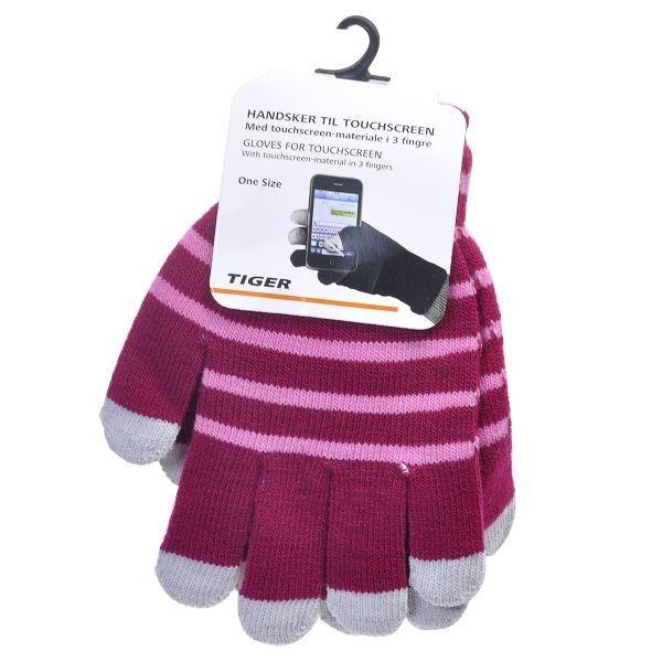 Vintervantar med SmartPhone-Touchfingrar (Röd - Rosa Ränder)
