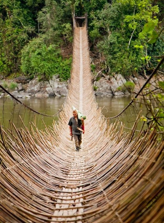 Cane Bridge, Village Kabua, Republic of Congo technique, tradition, métier d'art, trame