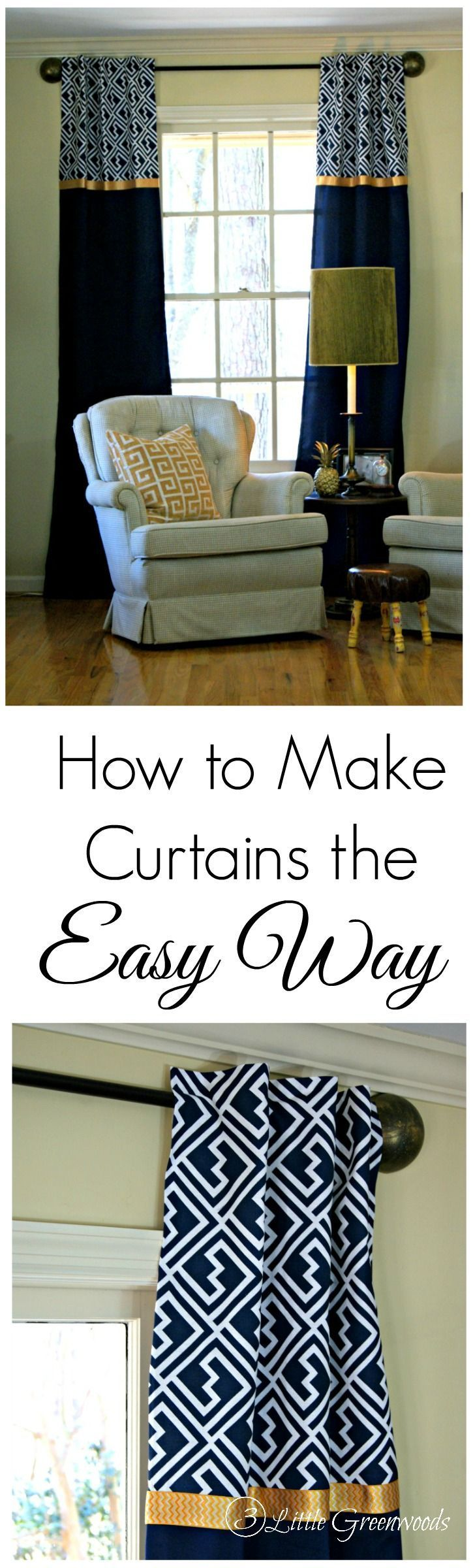 how to make curtains the easy no sew way vorh nge gardinen und n hen. Black Bedroom Furniture Sets. Home Design Ideas
