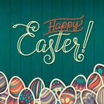 Happy easter Greeting Card. On the dark green wooden background calligraphy. Congratulations on the holiday. A lot of Easter eggs.