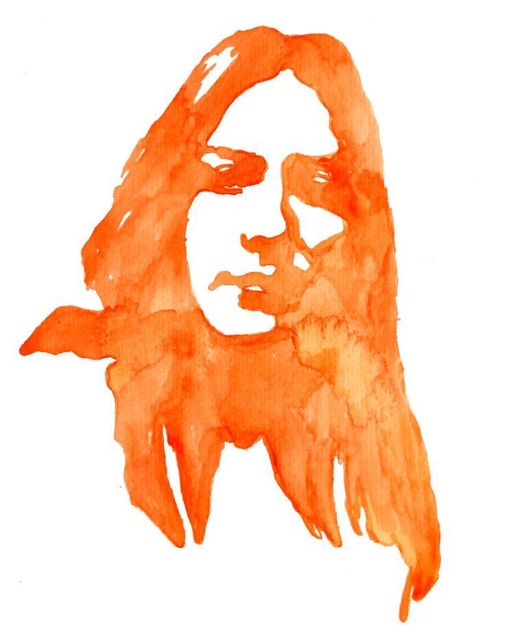 Watercolor abstract autoportrait.