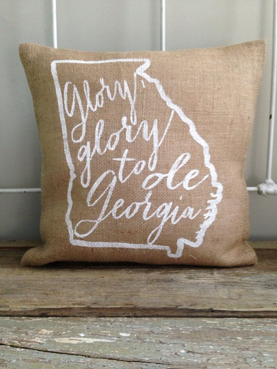 "Burlap Pillow - ""Glory, Glory to Ole Georgia"" - UGA, State of Georgia, University of Georgia - Made to Order, Graduation Gift"