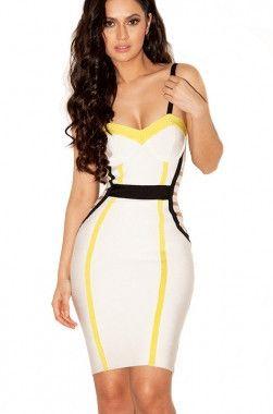 Grafisk bandage kjole med stropper