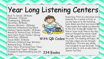 This is a complete set of all of my listening centers. The students simply use a QR code reader app, scan the code and a Youtube video of the book reading begins. These are great to tape to the matching books or to use as a listening center. I like to use these during my Daily 5 rounds.