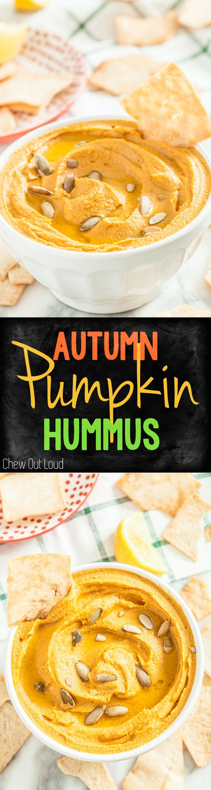 Pumpkin Hummus. Perfect appetizer or snack for fall get-togethers. Delish and healthy! #hummus #appetizer #fall