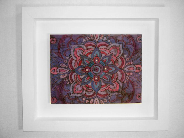 Mandala Ajna II 6to Chakra: Centro de la intuición, percepción extrasensorial. Batik enmarcado 45x53cm. VALOR: $55.000