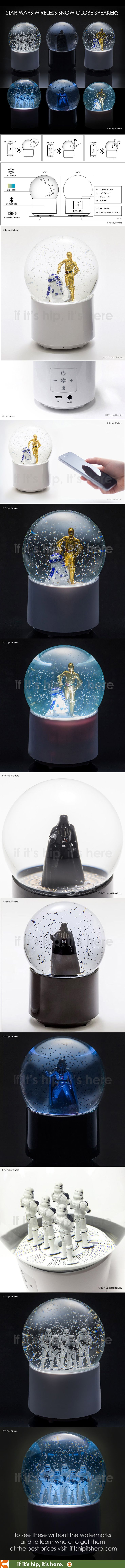 Beautifully made, official Lucasfilm Star Wars Snow Globes that are Bluetooth-enabled wireless speakers with LED lighting and voice control. Details and prices at http://www.ifitshipitshere.com/star-wars-wireless-snow-globe-speakers/