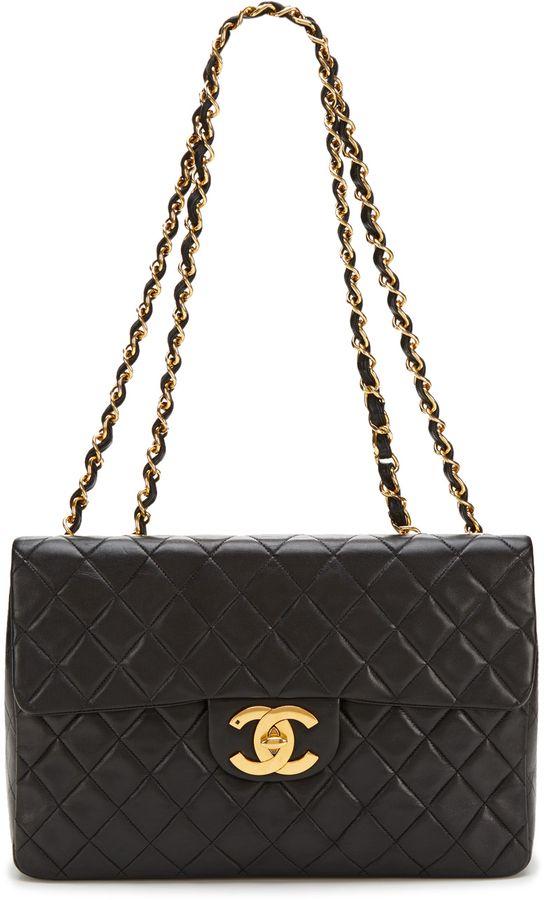 Black Lambskin Matrasse XL Jumbo Single Flap Bag