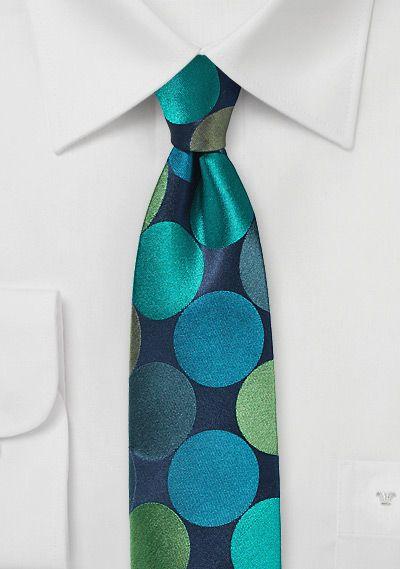 Retro-Krawatte mit Kreis-Pattern nachtblau