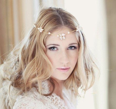 Bridal headdress wedding bridal forehead band browband - Llorelei design