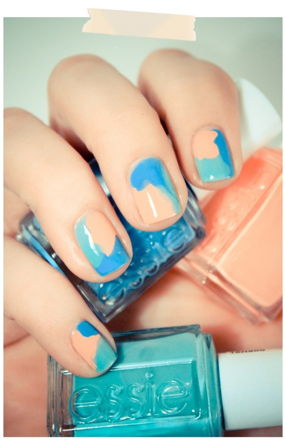 ...: Colors Combos, Nails Art, Watercolor Nails, Nails Design, Camo Nails, Beaches Nails, Nails Paintings, Nails Polish, Blue Nails