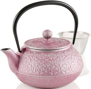 This small Japanese cast iron teapot (tetsubin) is beautifully decorated with cherry blossoms which are the national flower of Japan and symbolize new beginnings, love and beauty.