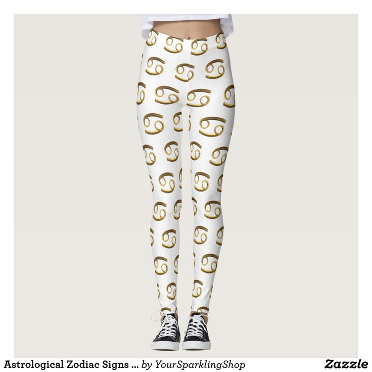 Astrological #Zodiac Signs Sun Sign #Cancer Gold White #Leggings