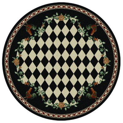 American Dakota Novelty High Country Rooster Black Area Rug Rug Size: Round 8'