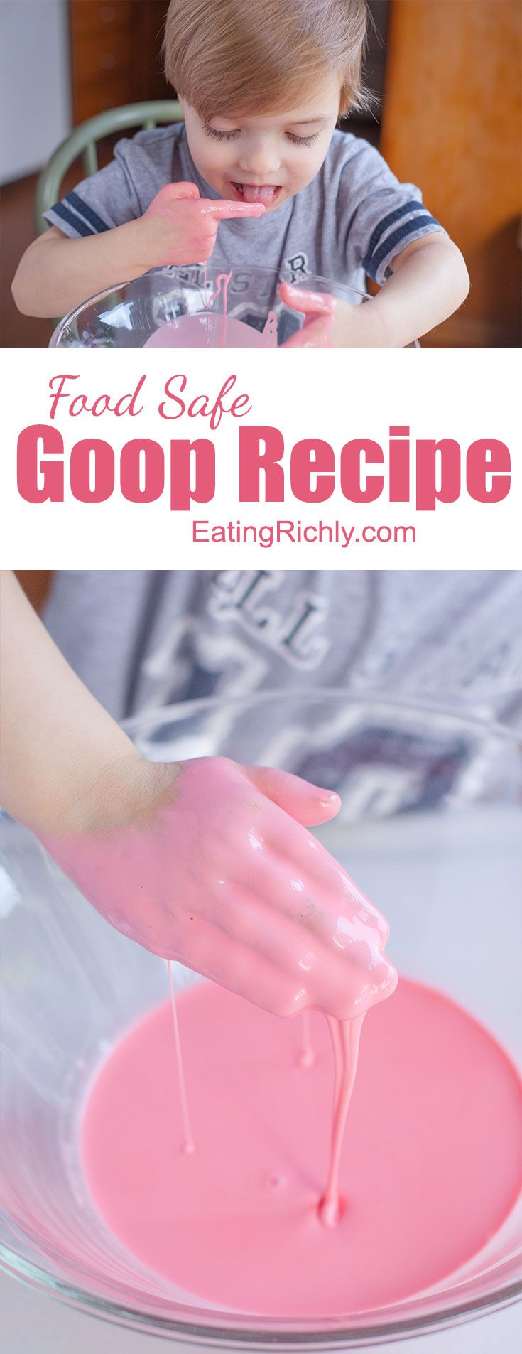 Kids of all ages love making, and playing with, this easy goo recipe. Moms love that it's completely safe for even the youngest toddlers! From EatingRichly.com via @eatingrichly