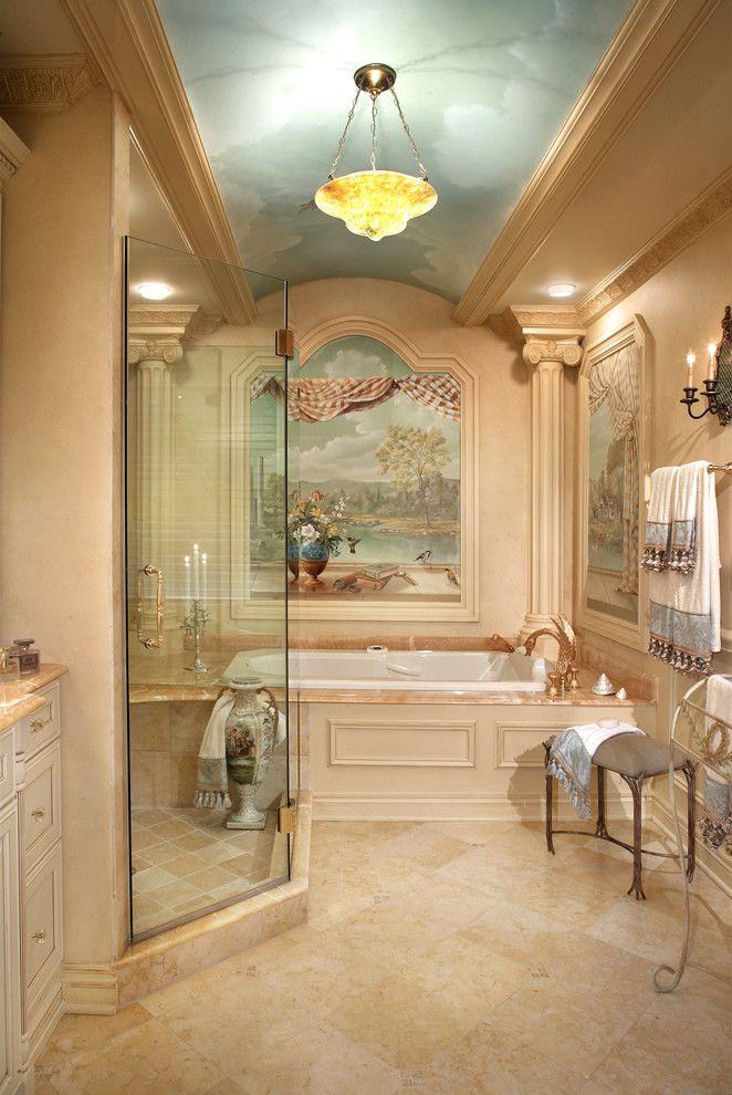 LOVE THIS BATHROOM with its trompe l'oeil paintings! Mediterranean bathroom - Creative Design Construction