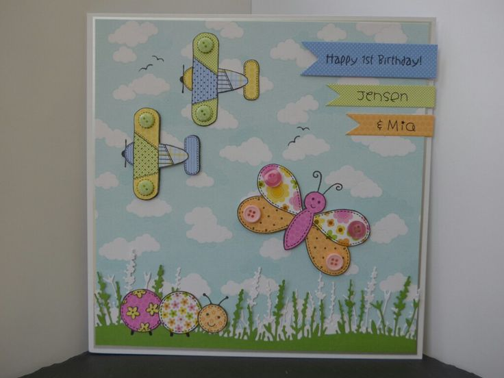Twins first birthday card made using Woodware Patch a flight and Patch a bug stamp sets