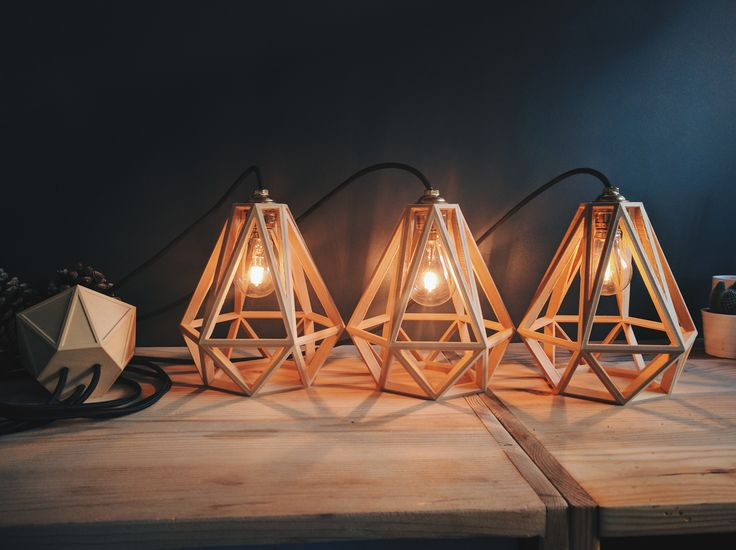 Pendant Light Diamond Cage Vintage Wood Special order for a client !