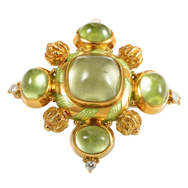 Elizabeth Gage Peridot Diamond Gold Brooch | From a unique collection of vintage brooches at https://www.1stdibs.com/jewelry/brooches/brooches/