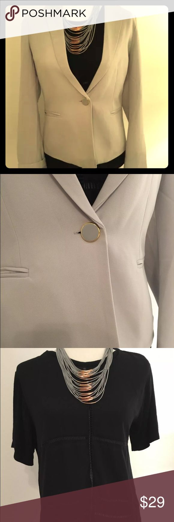 Grey Blazer+Black BCBG Shirt (S) and Necklace lot Grey Just Fab Blazer NWOT Size S, gold and grey button accent!  Paired with black BCBG shirt Size S. And adorable rose gold and blue statement necklace. Pair with your black pants and go to that meeting! Maintained in a smoke free home. BCBGeneration Jackets & Coats Blazers
