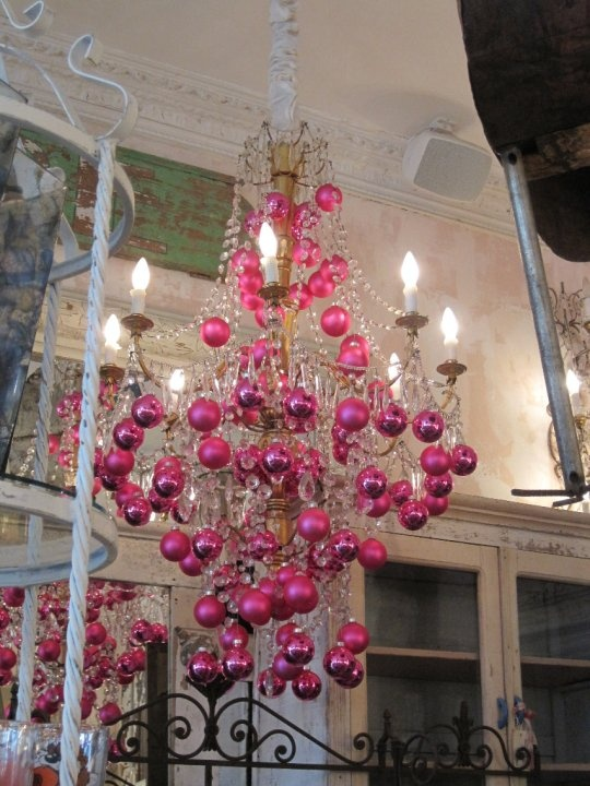 Chandelier With Pink Christmas Ornaments