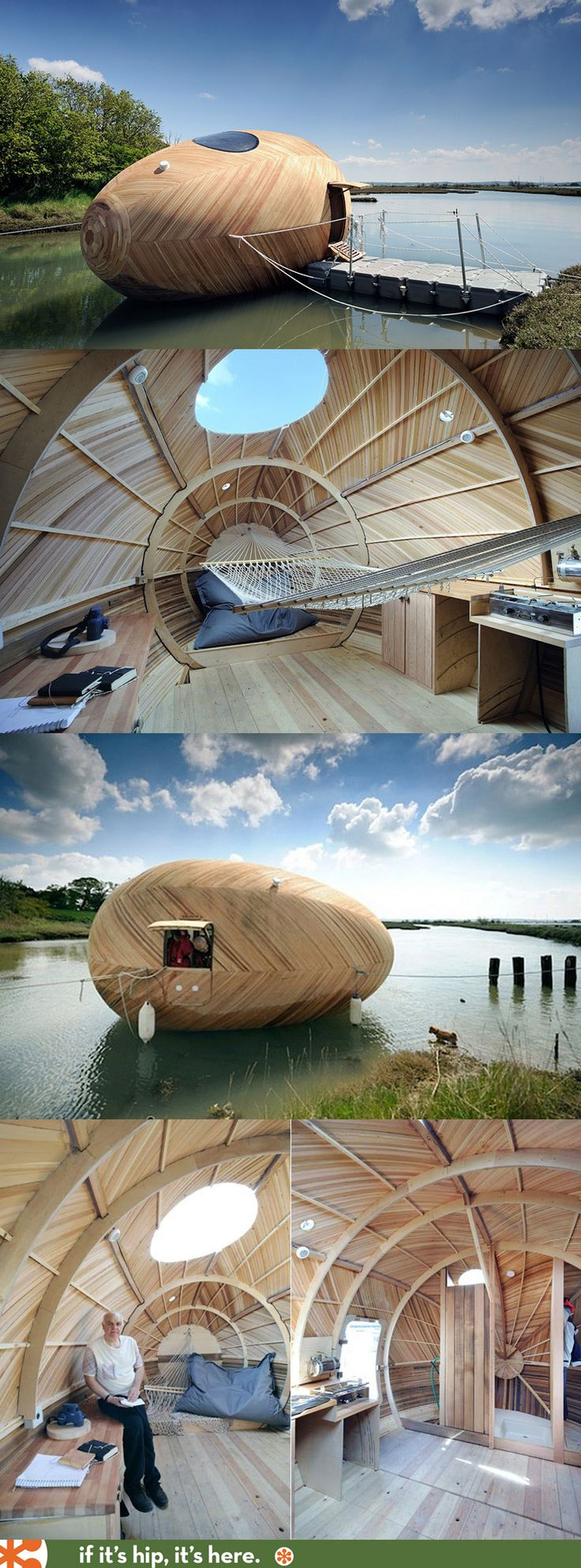 The Exbury Egg is a floating, wooden, sustainable, energy efficient pod that will serve as home to artist Stephen Turner for a year. [más información en casasprefabricadasya.com]
