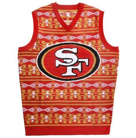SAN FRANCISCO 49ERS OFFICIAL NFL MEN'S AZTEC SWEATER VEST BY KLEW