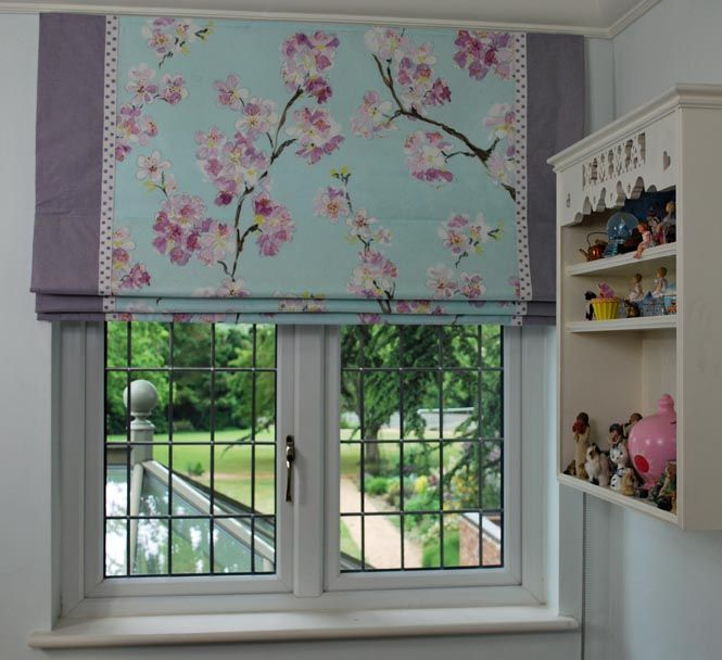 Image result for patterned roman blind with plain edging