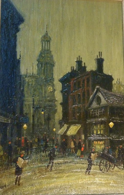"Arthur Delaney, Market Place Manchester, oil on board, 9.5"" x 6"", £5,300"