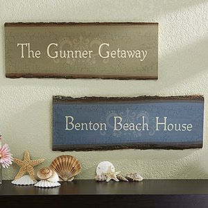 """Our Family Getaway"" Personalized Basswood Plank Sign - such a cute idea for your beach house or lake house ... great hostess gift for friends you visit at their summer home too! #lakehouse #beachhouse #homedecorBeach House, Hostess Gift, Beachhouse"