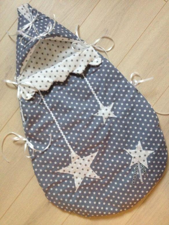 Nid d'ange naissance - thème étoiles coloris gris blanc argent - miiflore créations
