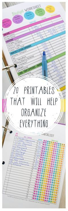20 Printables that Will Help Organize EverythingAbby Lawson – Organizing Ideas