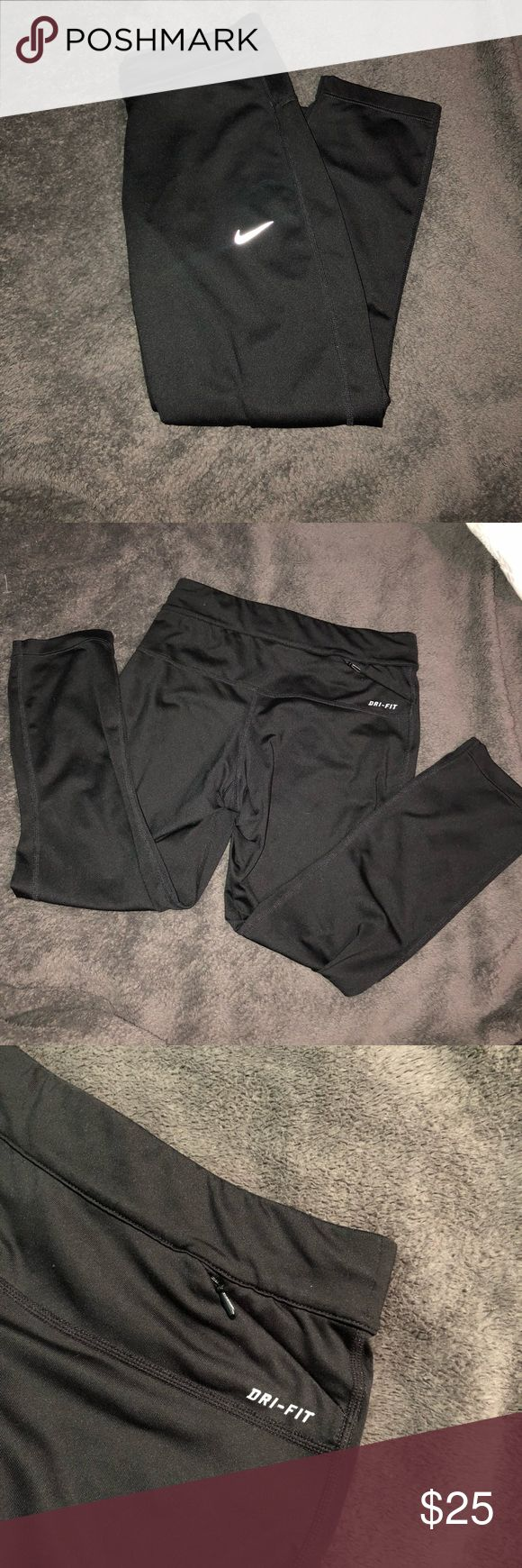 Nike • Running Tights • cropped running tights  • dri-fit  • has a pocket to put your ID when you're running Nike Pants Track Pants & Joggers