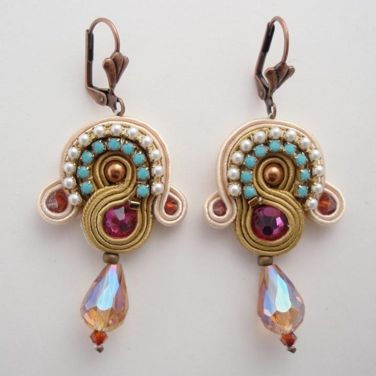 Soutache Embroidered Earrings. $90.00, via Etsy.