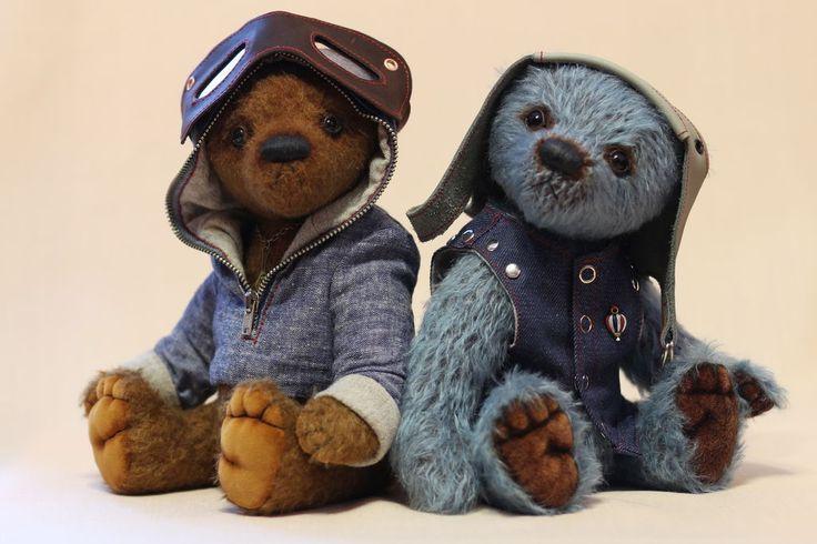 Купить Мишки Тедди Пилот и Механик - мишки тедди, мишки ручной работы, мишка в подарок