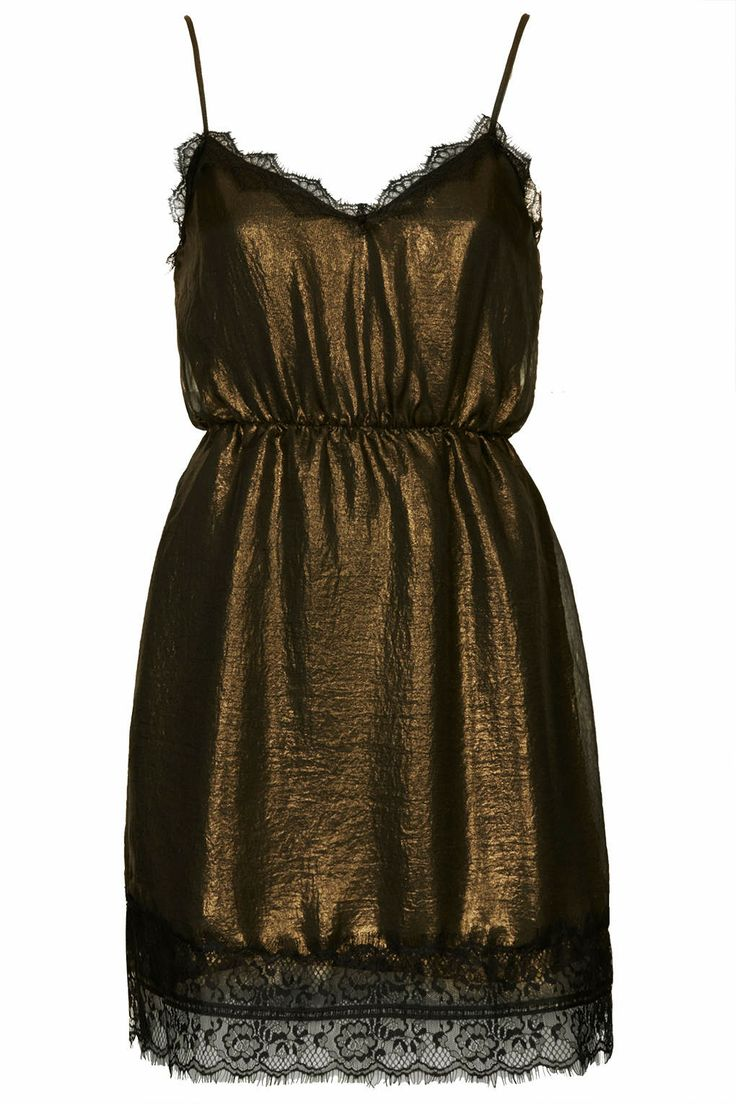 #Metallic Slip Dress by WYLDR - Topshop #TopshopPromQueen The lace along the edges is beautiful. And the shimmer effect of the metallic.