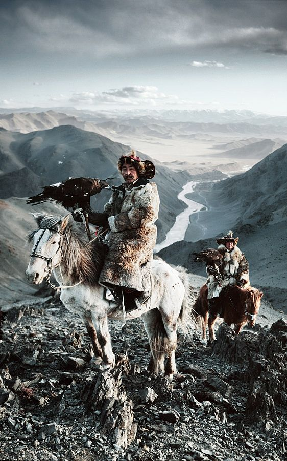 """Kazakh Eagle Hunters, Mongolia. 