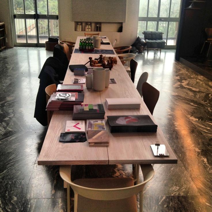 "Never ending Table 7m Long Douglas Dinesen Planks at the Triennale di Milano 2013 ""Danish Chromatism"""