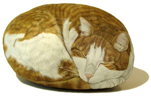 asylum-art:  Custom Cat Portraits Hand Painted on Rocks...