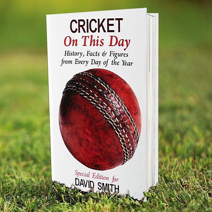 This hardback book has a foreword written by Dickie Bird MBE and the author of the text is Paul Donnelley.  This Cricket On This Day Book can be personalised with a name on the front using up to 25 characters. Inside the cover add a longer message of up to 4 lines of 20 characters, please count spaces as characters.